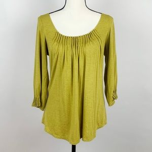 Bordeaux Los Angeles Olive Green Pleated Top